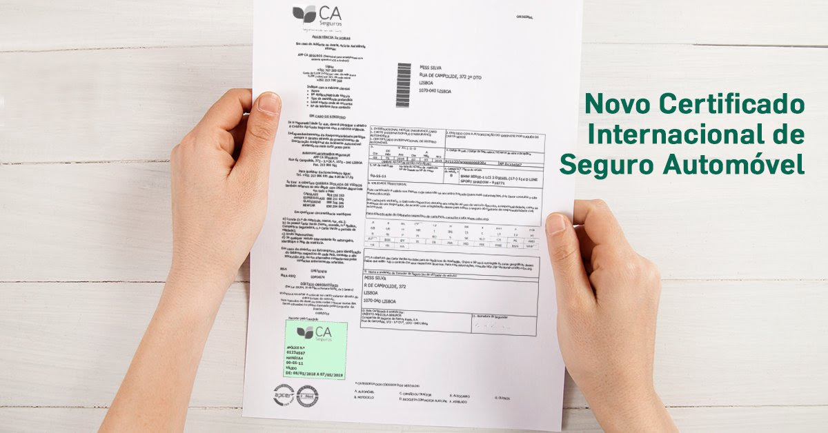 Novo Certificado Internacional Seguro Automóvel