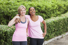 Women in park after exercising