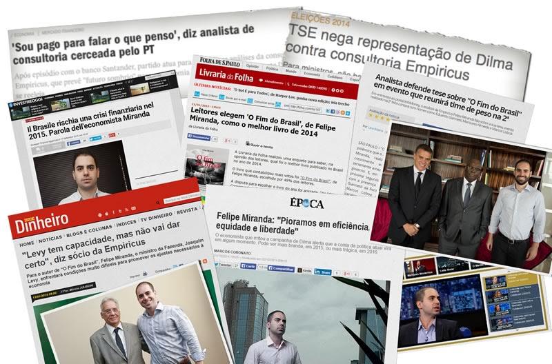 Calote - manchetes de jornal após O Fim do Brasil