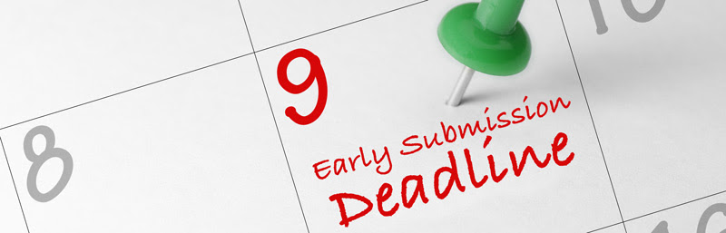 pin on calendar date of 9 with early submission deadline written on it