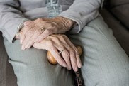 elderly ladies hands in lap