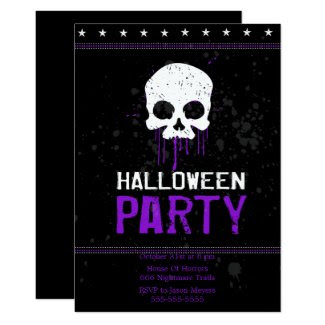 Grungy Skulls Halloween Party Invitations (Purple)
