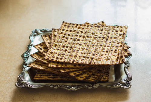 Matzah Group_ placed in a special silver tray for the jewish pesach holiday
