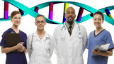 doctors and health professionals with DNA in background