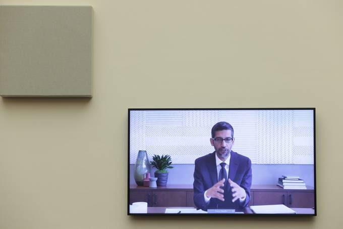 Google CEO Sundar Pichai speaks via videoconference before the House Judiciary subcommittee on antitrust. (Graeme Jennings/Pool/Reuters)