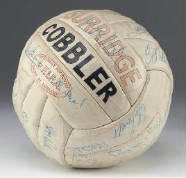 A STUART SURRIDGE, COBBLER WHITE LEATHER FOOTBALL