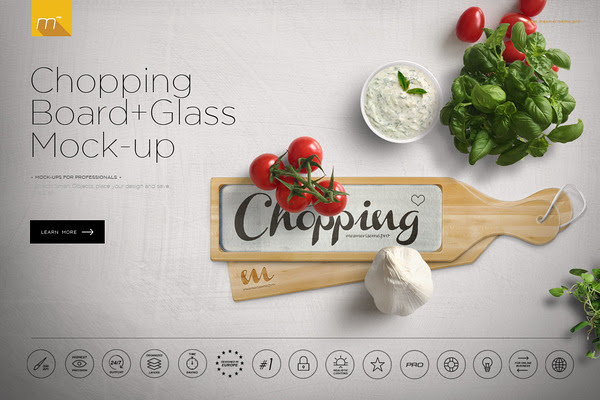 Chopping Board + Glass Mock-up