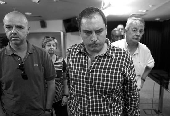 Antonio Carámbula, Pablo Ferreri, Enrique Pintado y Liliam Kechichián, el sábado, tras la conferencia de prensa brindada por el presidente Mujica y Danilo Astori en la Torre Ejecutiva.