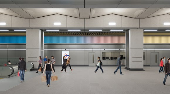 Visualisation of Sunset, Sunrise, Sunset, Alexandre da Cunha at Battersea Power Station. Ticket Hall view of the North Wall.   - TfL Image-2