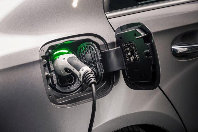 Mercedes-Benz A250e sedan charging