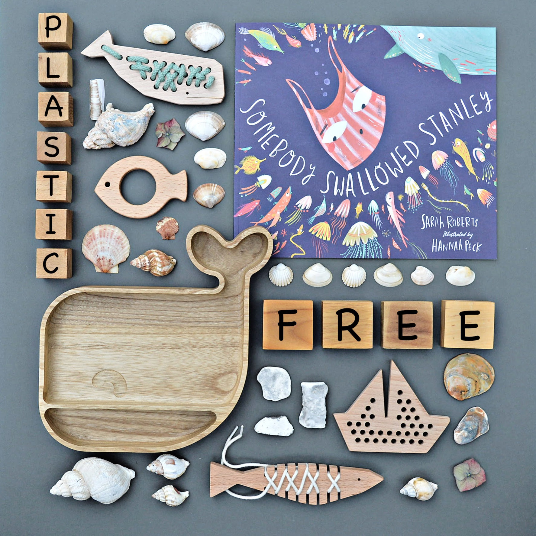 plastic free childrens wooden toys & tableware
