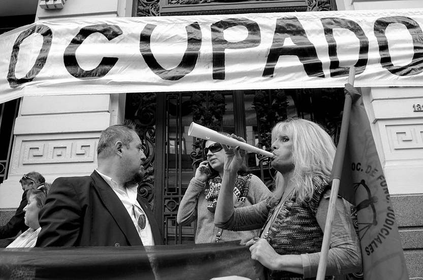 Ocupación de la Suprema Corte de Justicia, ayer, por parte del sindicato de los judiciales. Foto: Pablo Vignali