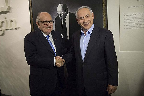 Former New York Mayor Rudy Giuliani with Israeli Prime Minister Benjamin Netanyahu at a tour in Menachem Begin Heritage Center in Jerusalem on Feb. 2, 2015.