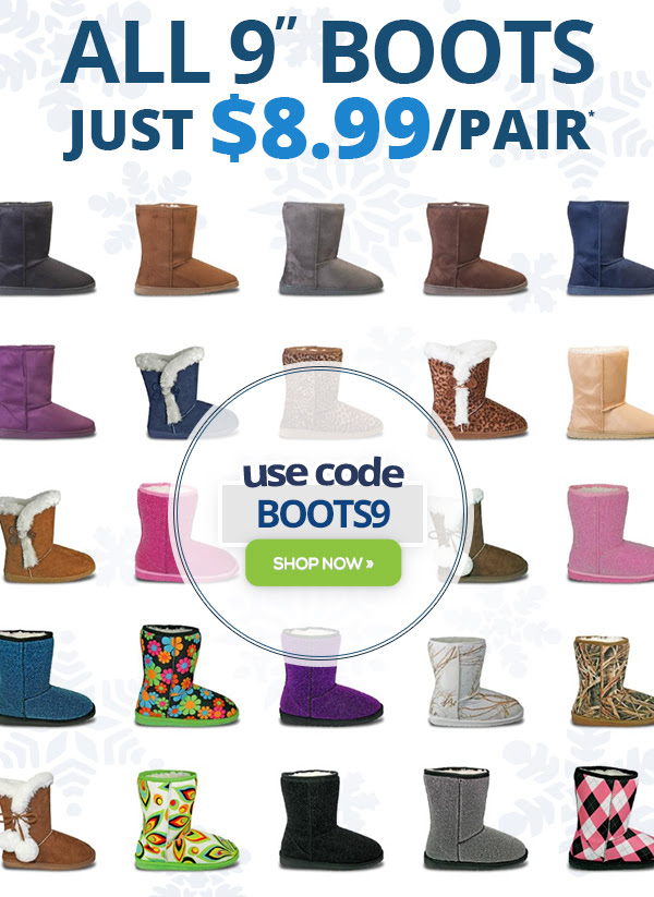 """All 9"""" Boots Only $8."""