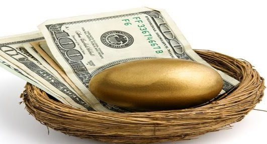 Photo of a birds nest full of cash and one golden egg