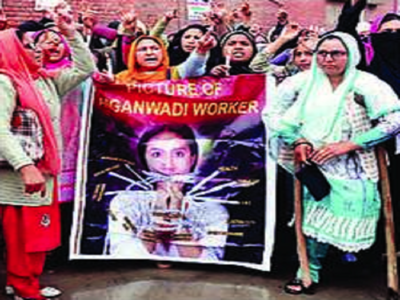 Anganwadi workers had protested earlier this year, demanding an increase in the honorarium