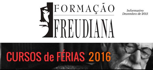 Cursos de Férias da Formação Freudiana abertos ao público. Início em Janeiro de 2016.