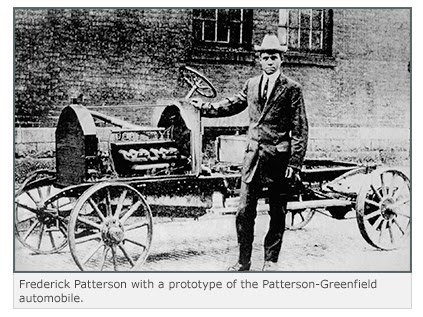 Frederick Patterson with a prototype of the Patterson-Greenfield automobile.
