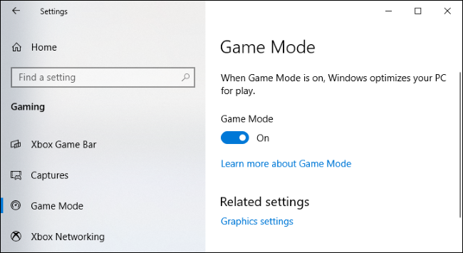 Game Mode settings on Windows 10