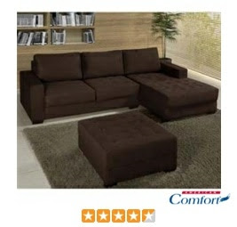 Sofá 2 Lugares American Comfort América + Chaise + Puff Marrom