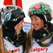 Justine Dufour-Lapointe, left, will not only share a spot on the Canadian Olympic team with sister Chloe, right, but also their oldest sister, Maxime.