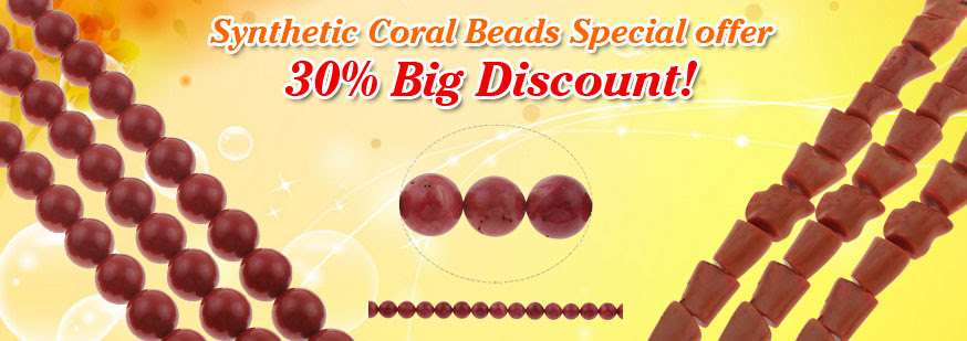 discount for synthetic coral beads