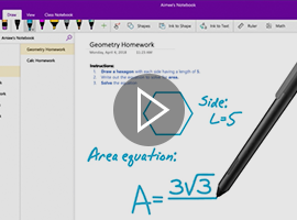 Screenshot of Pen being used on OneNote with a play button in the center of the image.