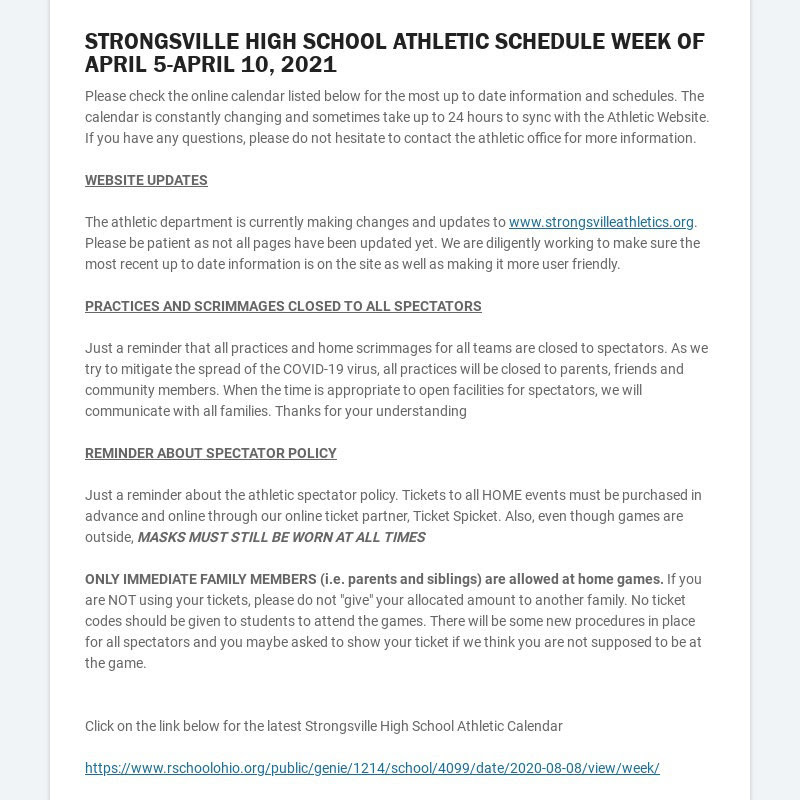 STRONGSVILLE HIGH SCHOOL ATHLETIC SCHEDULE WEEK OF APRIL 5-APRIL 10, 2021 Please check the online...