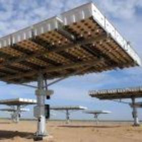 rotating solar panels in the desert