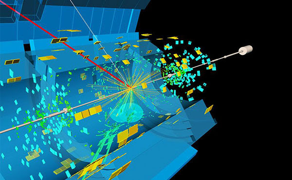 A visualization of the Higgs boson decaying into the bottom quark and its antiparticle counterpart.
