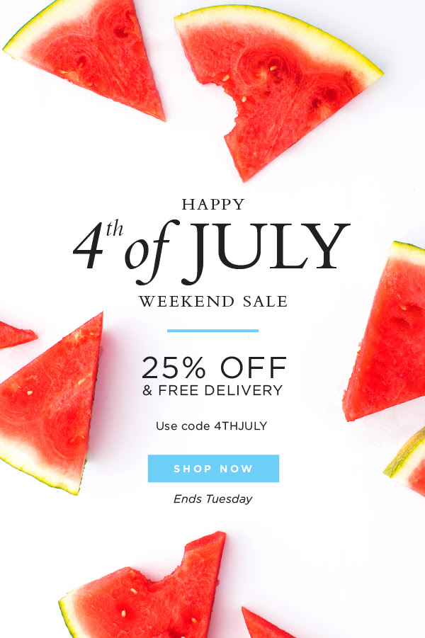 25% off + free delivery | code 4THJULY