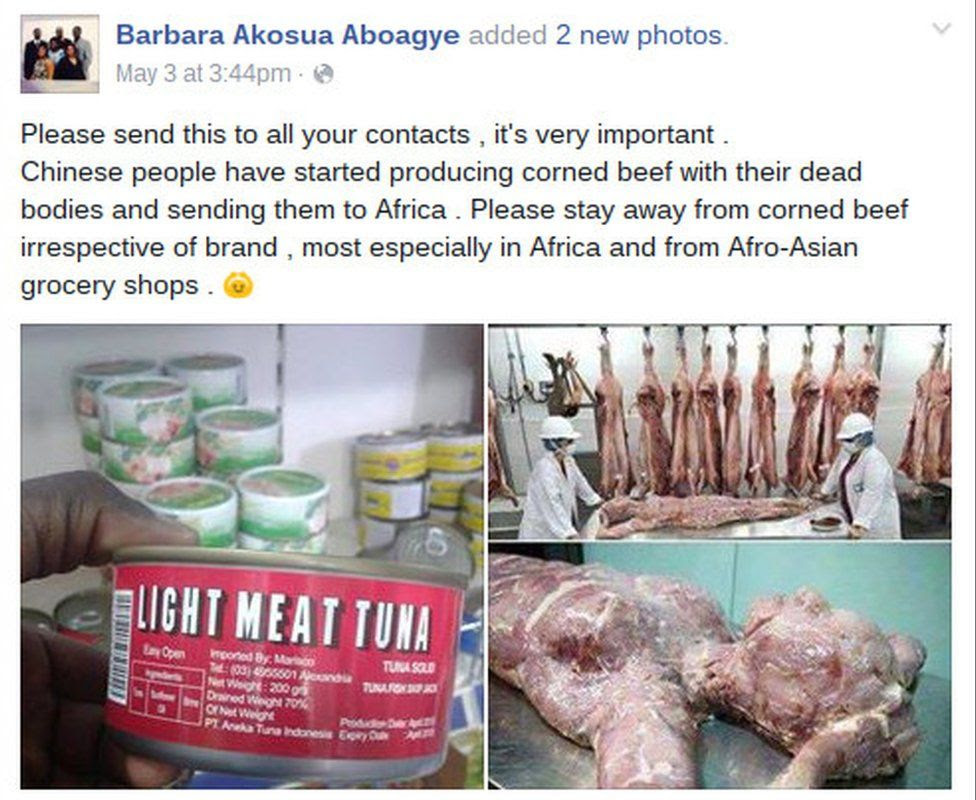 Facebook post on Chinese human flesh being packaged as corned beef and tuna