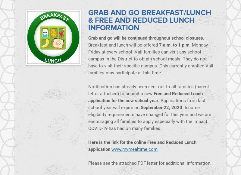 GRAB AND GO BREAKFAST/LUNCH & FREE AND REDUCED LUNCH INFORMATION Grab and go will be continued...