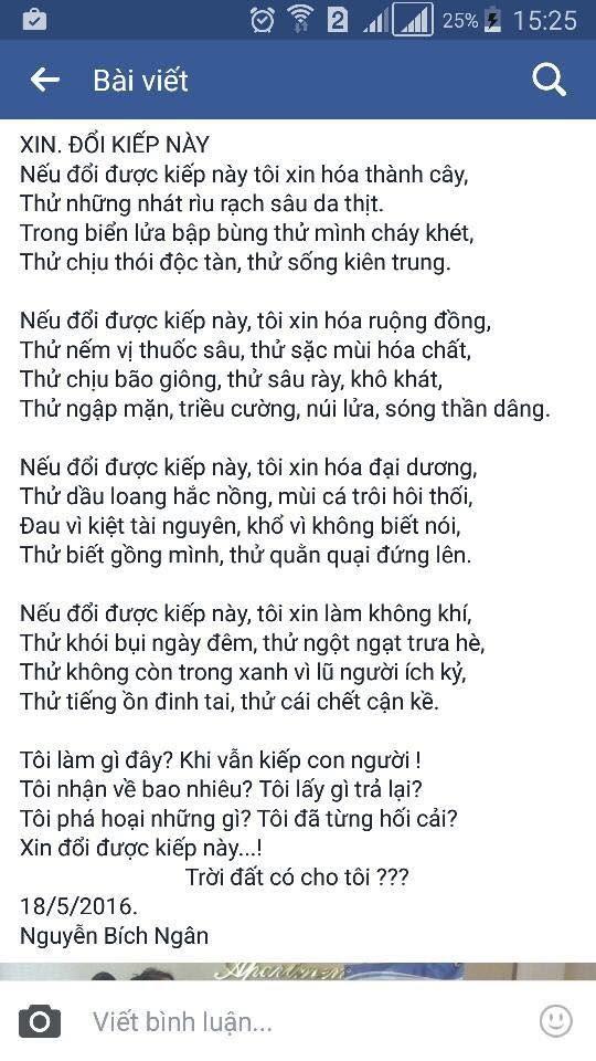 Bài thơ của nữ sinh lớp 8 khiến dân mạng lặng người