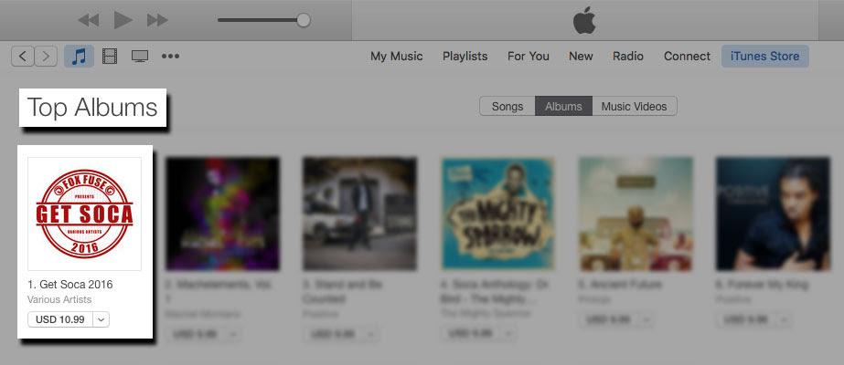 Get Soca 2016 Debuting at #1 on the iTunes Trinidad and Tobago Reggae Top Albums Chart