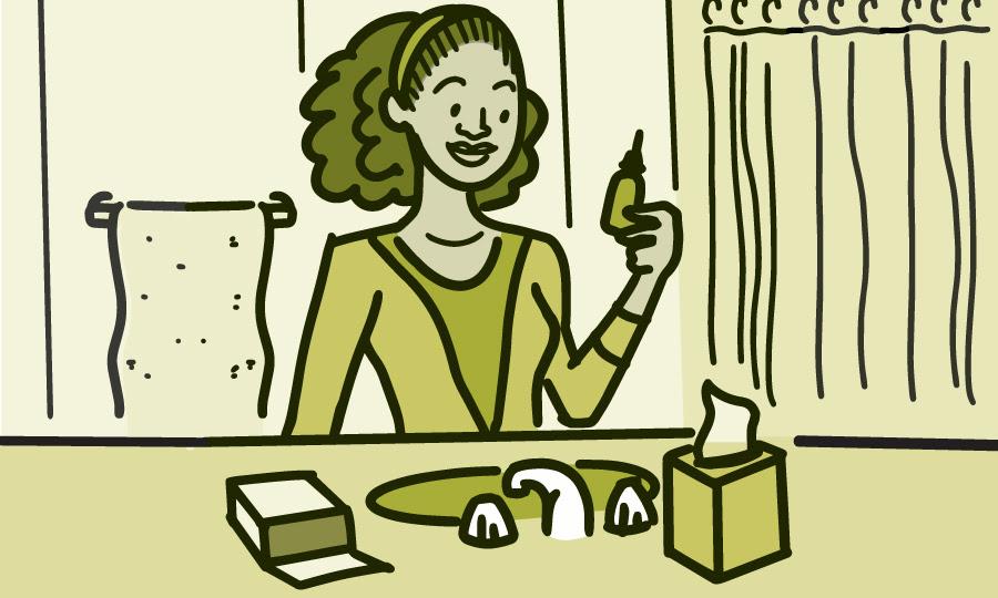 Ilustración de una mujer mirando una botella de enjuague salino sobre el lavabo del baño