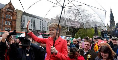 Sturgeon, en Edimburgo en el último día de campaña. REUTERS/Russell Cheyne
