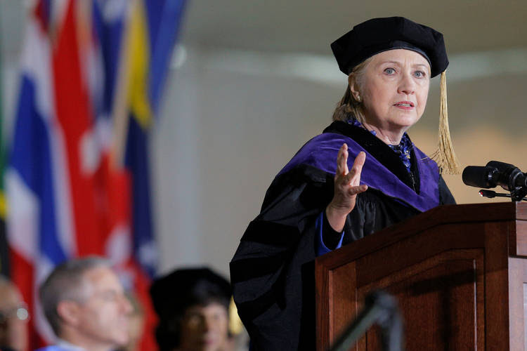 Hillary Clinton delivers the Commencement Address at Wellesley College in Massachusetts on May 26. (Brian Snyder/Reuters)