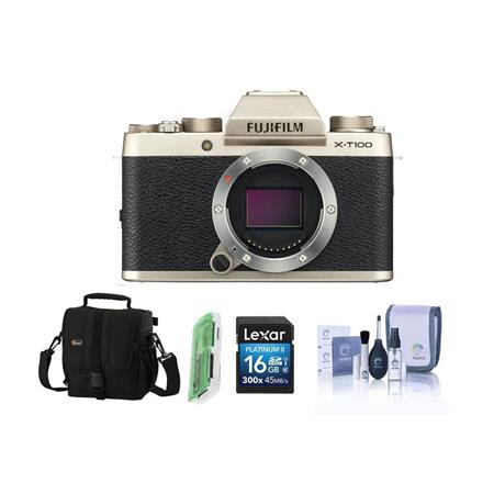 X-T100 Mirrorless Digital Camera Body, Gold - Bundle With 16GB SDHC Card, Camera Case, Cle