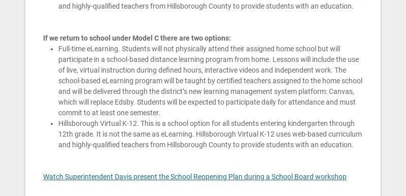 This past Tuesday, Superintendent Davis presented his Reopening Plan to the School Board. There...