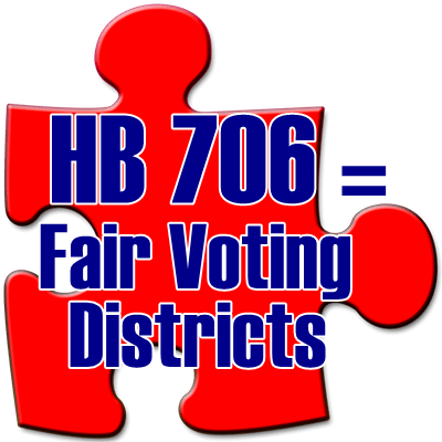 Puzzle piece saying HB 706 equals fair voting districts