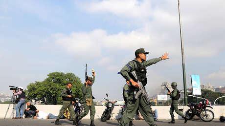 Militares venezolanos en Caracas.