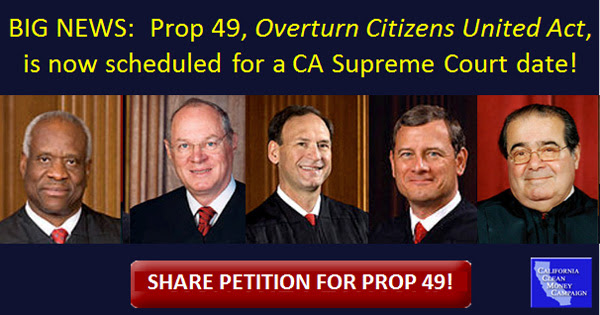 Prop 49, Overturn Citizens United Act