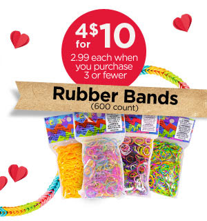 Rubber Bands (600 count) 4 for $10 - 2.99 each when you purchase 3 or fewer