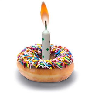 Chocolate Sprinkle Doughnut with Candle