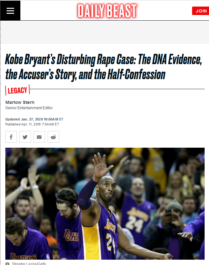 Daily Beast: Kobe Bryant's Disturbing Rape Case: The DNA Evidence, the Accuser's Story, and the Half-Confession