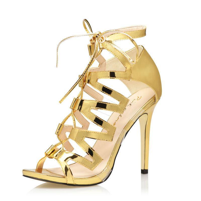 Gold Sandals Stiletto High Heels