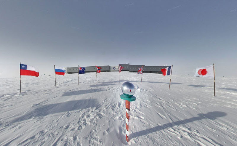 ceremonial south pole 3 Exploring Antarctica with Google Street View