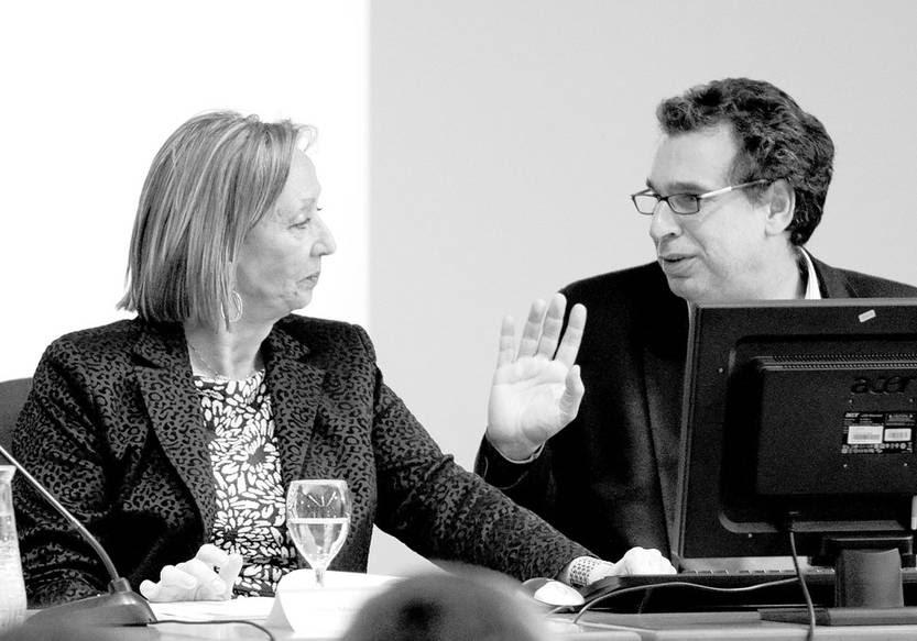 """María Julia Muñoz y Fernando Filgueira en el encuentro """"El nuevo ADN de la educación uruguaya"""", el 24 de setiembre en el Impo. Foto: Pablo Vignali"""