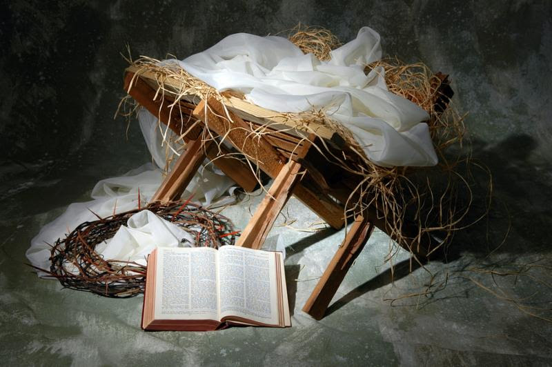 The story of Christmas with open Bible to John 3 16